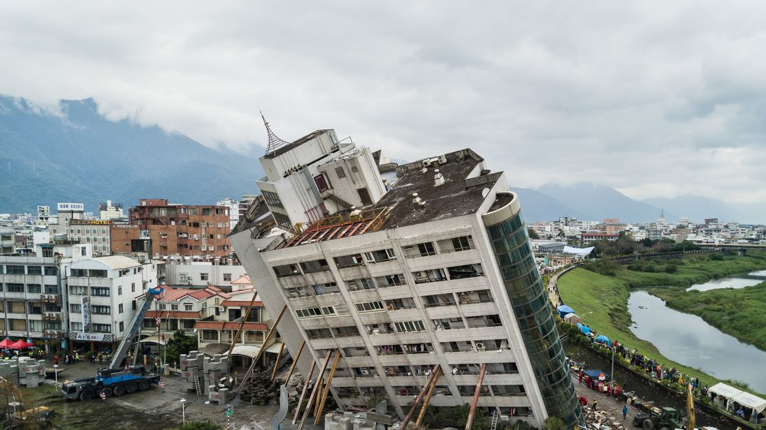A damaged building after an earthquake struck in Hualien, Taiwan