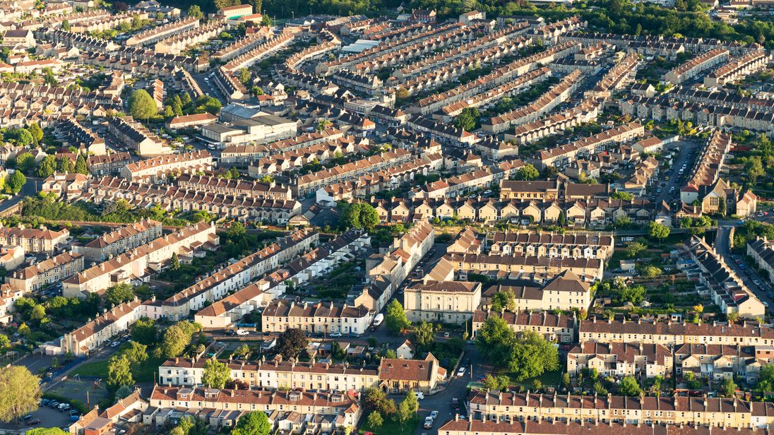 Terraced houses in Somerset, England