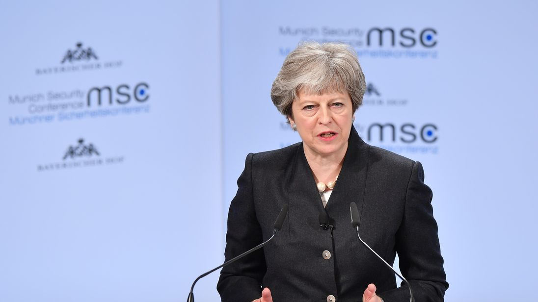 British Prime Minister Theresa May delivers a speech at the 2018 Munich Security Conference on February 17, 2018 in Munich, Germany