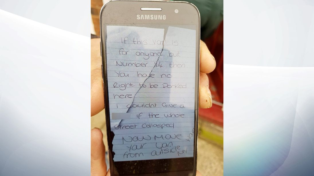 Woman arrested over angry note on ambulance