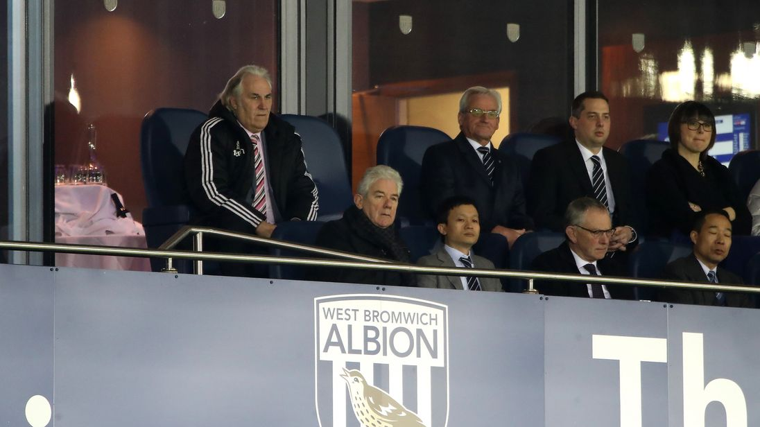 West Bromwich Albion Chairman John Williams and Owner Guochuan Lai in the stands during the Premier League against Chelsea on 18 November, 2017
