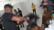 Hairstylist Allyn Antoine appears backstage during SheaMoisture at Laquan Smith F/W 2016 NYFW at Jack Studios on February 14, 2016 in New York City