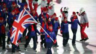 Great Britain's flag bearer Lizzy Yarnold leads out her team during the Opening Ceremony of the PyeongChang 2018 Winter Olympic Games