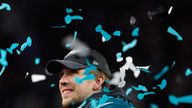 Nick Foles celebrates Philadelphia's 41-33 victory over the New England in Super Bowl LII
