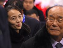 North Korea's ceremonial head of state Kim Yong Nam (R) and North Korean leader Kim Jong Un's sister Kim Yo Jong (L)