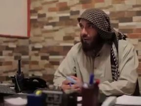 An ISIS fighter before he defected, in a Crawford package