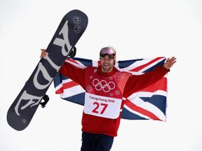 Billy Morgan celebrates winning the bronze medal in the big air event