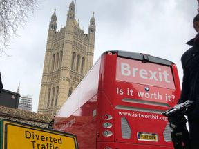 "The pro-Remain ""Is It Worth It?"" bus is diverted through Westminster"