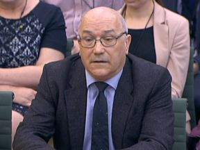 Mark Goldring, CEO of Oxfam GB, giving evidence before the Commons Development Committee at Portcullis House, London, on the aid worker sex scandal.