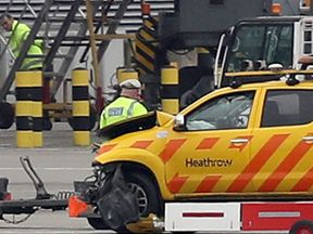 One of the vehicles involved in a crash on the airfield at Heathrow Airport that led to the death of a man in his 40s