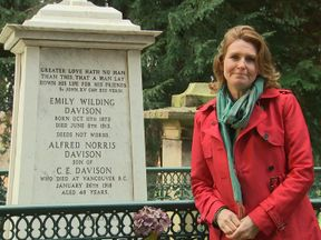 Jayne Secker at the grave of Emily Wilding Davison