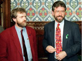 Jeremy Corbyn with Gerry Adams in the House of Commons in 1995