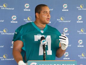 Jonathan Martin at a Miami Dolphins training facility