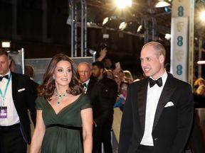 Prince William, Duke of Cambridge and Catherine, Duchess of Cambridge attend the EE British Academy Film Awards (BAFTA) held at Royal Albert Hall on February 18, 2018 in London, England.