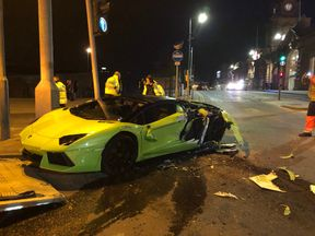 The Lambourghini Aventador crashed in central Nottingham. Pic: BTPNotts