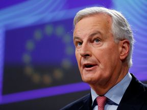 EU chief Brexit negotiator Michel Barnier holds a news conference at the EU Commission headquarters in Brussels