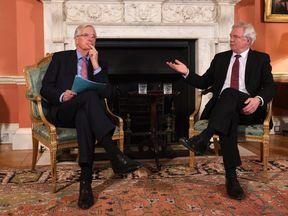 European chief negotiator Michel Barnier and Brexit Secretary David Davis pictured on Monday