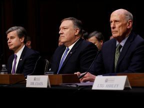 FBI Director Christopher Wray, CIA Director Mike Pompeo, and Director of National Intelligence Dan Coats