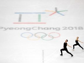 South Korean skaters practice ahead of the start of the Games