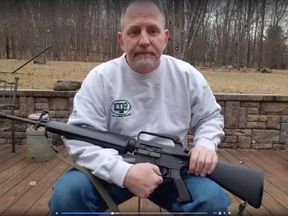 Scott Pappalardo posted a video of himself destroyed his AR-15 rifle. Pic: Scott Pappalardo/Facebook
