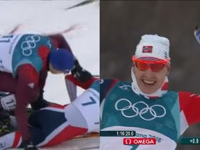 Norway Simen Hegstad Krueger won gold in the men's Olympic skiathlon despite breaking a pole in an early crash. Pic: BBC