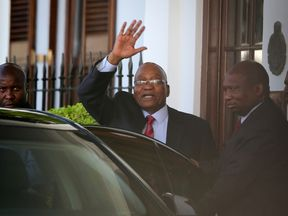 President Jacob Zuma leaves Tuynhuys, the office of the Presidency at parliament after the announcement that his State of the Nation address had been postponed in Cape Town, South Africa, February 6, 2018. REUTERS/Sumaya Hisham