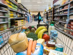 In this photo illustration, a basket of goods is seen in a supermarket on February 6, 2018 in Bristol, England