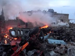 The scene shows, what according to Syrian rebels were fires caused by Russian military plane shot down by rebel forces near Idlib, Syria, reportedly on February 3, 2018 in this still image obtained from social media via REUTERS THIS IMAGE HAS BEEN SUPPLIED BY A THIRD PARTY. REUTERS IS UNABLE TO INDEPENDENTLY VERIFY THIS IMAGE