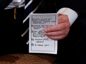 Donald Trump's crib note could be clearly read