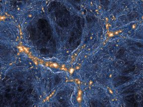 Visualization of the intensity of shock waves in the cosmic gas (blue) around collapsed dark matter structures (orange/white). Similar to a sonic boom, the gas in these shock waves is accelerated with a jolt when impacting on the cosmic filaments and galaxies.