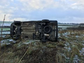 An overturned vehicle: Pic: Kent Police