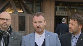 Three victims of convicted paedophile football coach Barry Bennell give their victim statements outside court on Thursday 15th February 2018