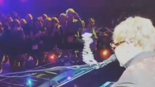 Elton John was struck in the face by a necklace during a performance in Caesar's Palace, Las Vegas, on February 14.