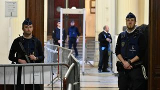 Security is heavy outside the Palais de Justice