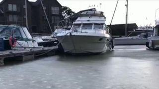 Bembridge Harbour in the Isle of Wight is frozen over
