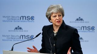 Prime Minister Theresa May talks at the Munich Security Conference in Munich