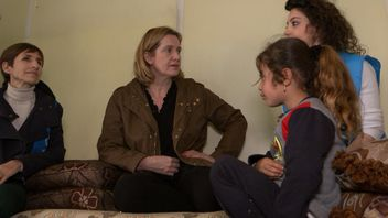 Amber Rudd is in Lebanon at a refugee camp