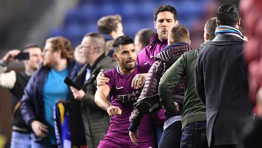 Sergio Aguero appears to confront a fan after the Man City Wigan FA cup tie