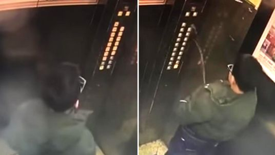 Boy in China caught urinating in lift