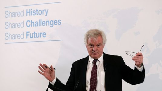 Britain's Secretary of State for Exiting the European Union David Davis delivers a speech in Vienna, Austria, February 20, 2018