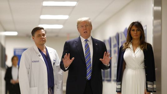 The US President talks with a trauma surgeon at Broward Health North Hospital