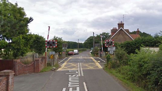 Google Maps screen grab of a level crossing in Barns Green, near Horsham in West Sussex. Two people were killed when a train hit a car there.