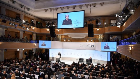 British Prime Minister Theresa May delivers a speech at the 2018 Munich Security Conference