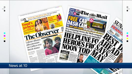 Sunday's national newspapers