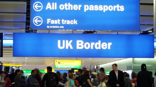 UK Border at Terminal 2 of Heathrow Airport