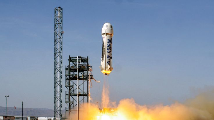 The New Shepard could take paying passengers to the edge of space next year. Pic: Blue Origin