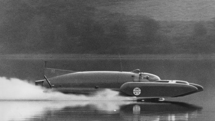 Donald Campbell on the water in the Bluebird K7