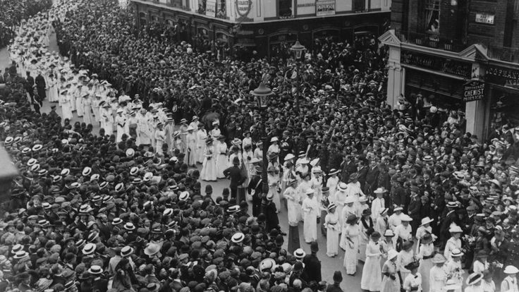 Emily Davison's funeral procession attracted a crowd of 50,000 supporters