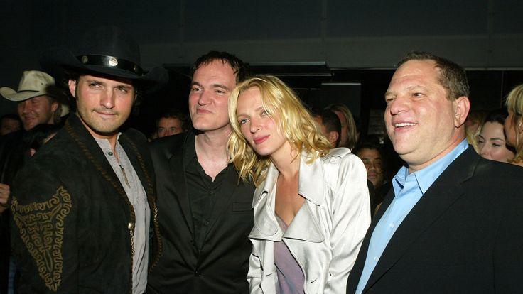 Uma Thurman with Quentin Tarantino (l) and Harvey Weinstein af the Kill Bill: Vol 2 premiere