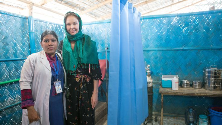 Ashley Judd visits a maternity clinic at a refugee camp